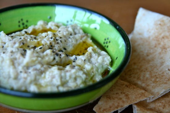 Baba ghanouj (or baba ghanoush) served with Lebanese bread