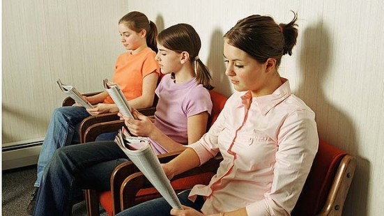 teenage girls waiting room